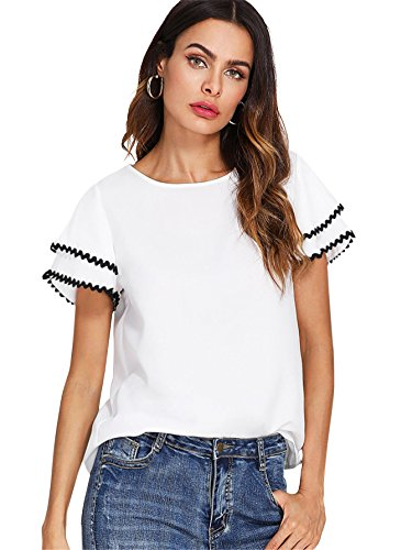 Ruffle Trim Woman (Floerns Women's Layered Ruffle Lace Trim Short Sleeve Blouse Tops White S)