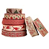 Amosfun 7 Pieces Christmas Burlap Ribbon Fabric Holiday Burlap Ribbon Jute Burlap Wired Ribbon Gift Wrapping for Wedding Christmas