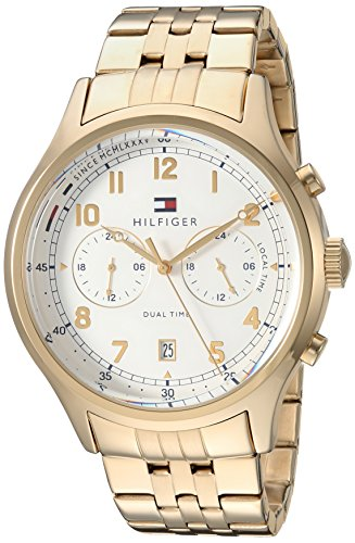 Tommy Hilfiger Men's 'Sport' Quartz and Stainless-Steel-Plated Casual Watch, Color Gold-Toned (Model: 1791390)