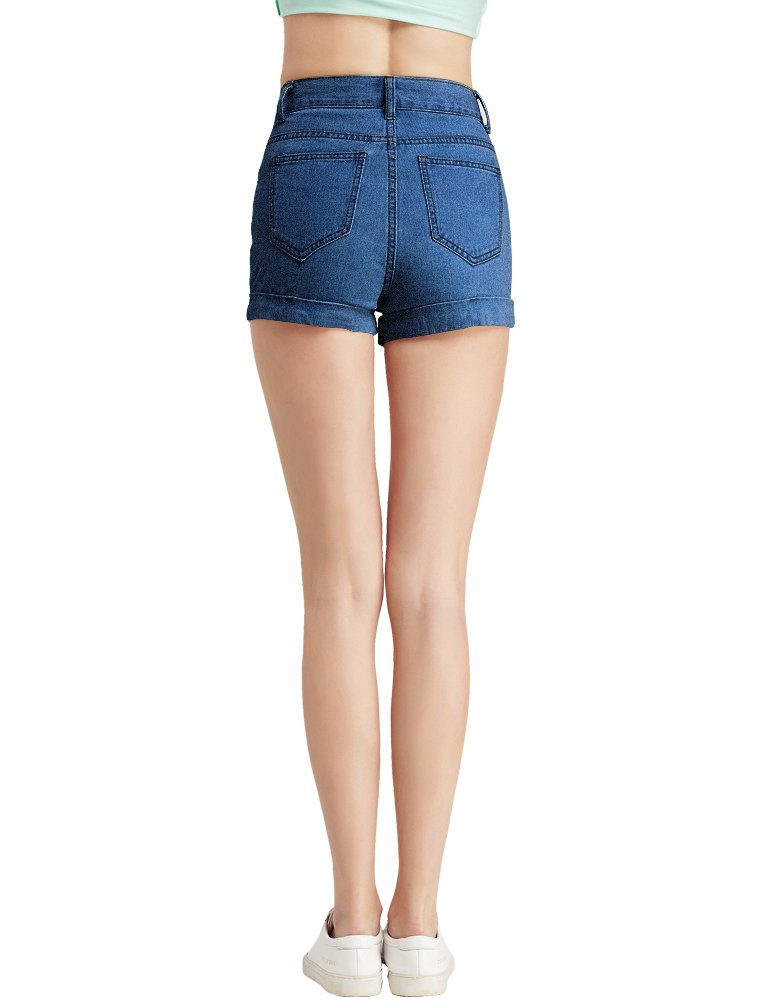 CUNLIN Women High Waisted Denim Shorts Fashion Summer Sexy Vintage Distressed Folded Hem Jeans Shorts Blue 25 by CUNLIN (Image #6)