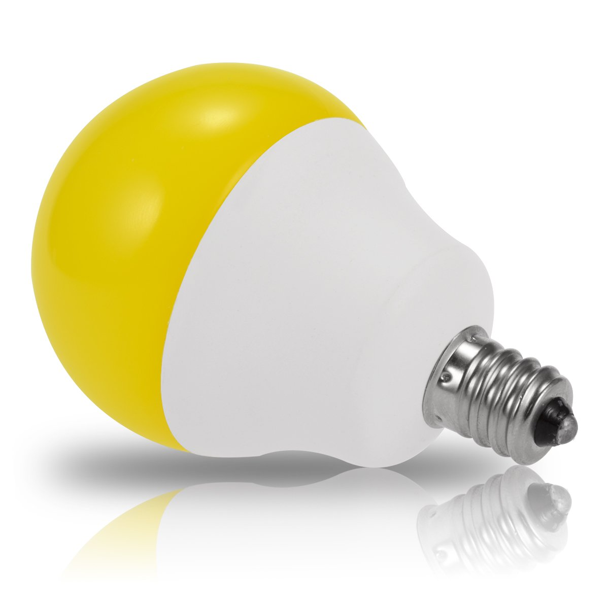 jandcase LED amarillo luz bombillas, bombilla de bajo consumo (esférica, 5 W, equivalente a 40 W, Incandescente, E12 candelabro Base, G14 bombillas para ...