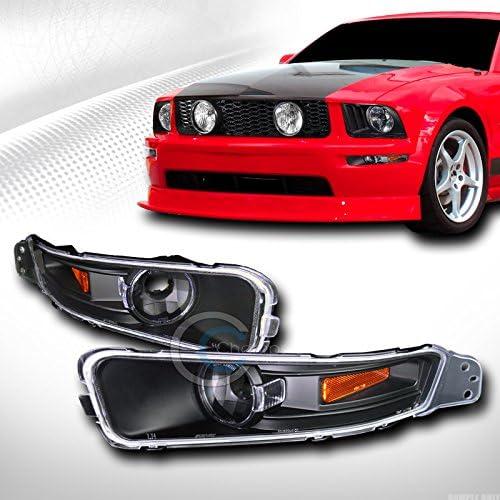 HS Power Black Amber Front Signal Bumper Lights Corner Lamps JY 05-09 for Ford Mustang V6 V8