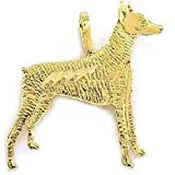14K Yellow Gold Doberman Pinscher Charm Dog Jewelry