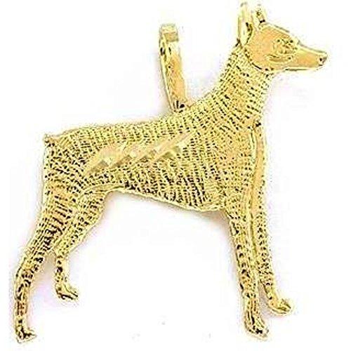 14K Yellow Gold Doberman Pinscher Charm Dog Jewelry (Doberman Pinscher Dog Charm)