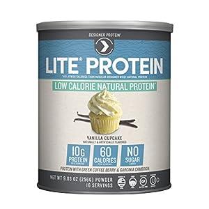 Designer Protein LITE, Low Calorie Natural Protein, Vanilla Cupcake, 9.03 Ounce