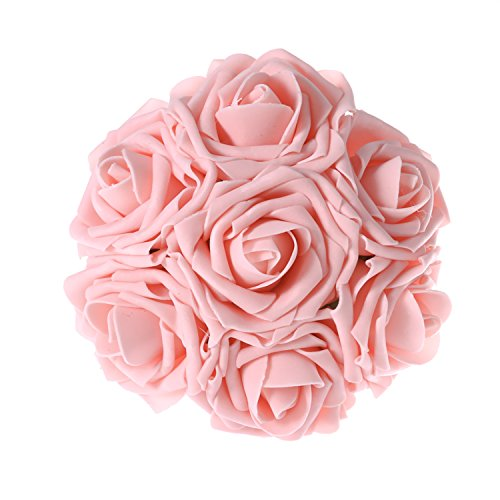 Ling's moment Artificial Flowers 50pcs Peachy Pink Real Looking Artificial Roses w/Stem for Wedding Bouquets Centerpieces Party Baby