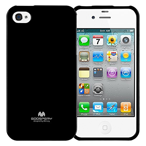 GOOSPERY Marlang Marlang iPhone 4/4S Case - Black, Free Screen Protector [Slim Fit] TPU Case [Flexible] Pearl Jelly [Protection] Bumper Cover for Apple iPhone4S, - Black Case Jelly