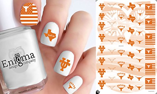 Texas Longhorns Clear Water-slide Nail Decals (Set of - Stores Austin Texas