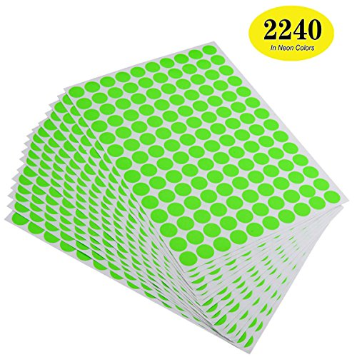 ONUPGO Pack of 2240 Round Color Coding Labels Circle Dot Stickers, 3/4