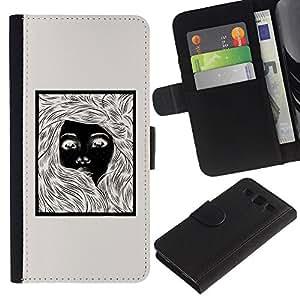 KingStore / Leather Etui en cuir / Samsung Galaxy S3 III I9300 / Chica Negro negro impresiones Beige Lápiz