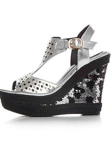 LFNLYX Zapatos de mujer-Tacón Cuña-Cuñas / Punta Abierta / Plataforma-Sandalias-Oficina y Trabajo / Casual / Fiesta y Noche-Cuero-Rojo / Plata Silver