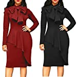 Jushye 2018 New Womens Long Sleeve Dress, Ladies Elegant Fashion Tie Bow Neck Peplum High Waist Bodycon Party Dress