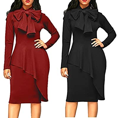 Jushye 2018 New Womens Long Sleeve Dress, Ladies Elegant Fashion Tie Bow Neck Peplum High Waist Bodycon Party Dress