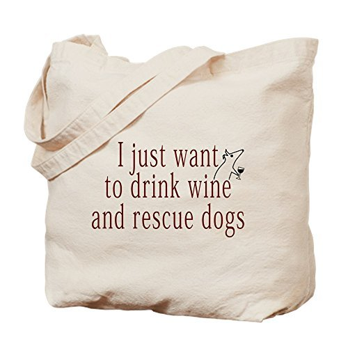 Lionkin8 I Just Want To Drink Wine And Rescue Dogs Natural Canvas Tote Bag, Cloth Shopping Bag