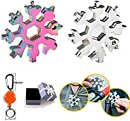 18-in-1 Snowflake Multi-Tool Outdoor Portable Stainless Steel Bottle Opener Combination Tool with a Hiking Hoo