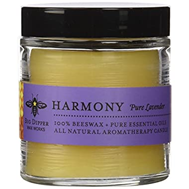 Big Dipper Wax Works AG8HAR Pure Lavender Beeswax Candle in an Apothecary Glass, 3.2 oz