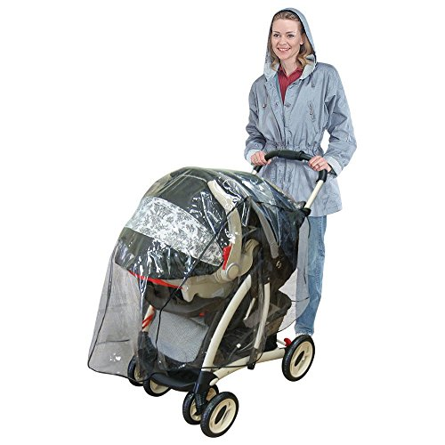 (Jeep Travel System Weather Shield, Baby Rain Cover, Universal Size to fit most Travel Systems, Waterproof, Windproof, Ventilation, Protection, Shade, Umbrella, Pram, Vinyl, Clear, Plastic)