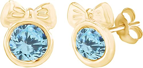 Simulated Aquamarine Heart Stud Earrings 14K Yellow Gold Over Sterling Silver