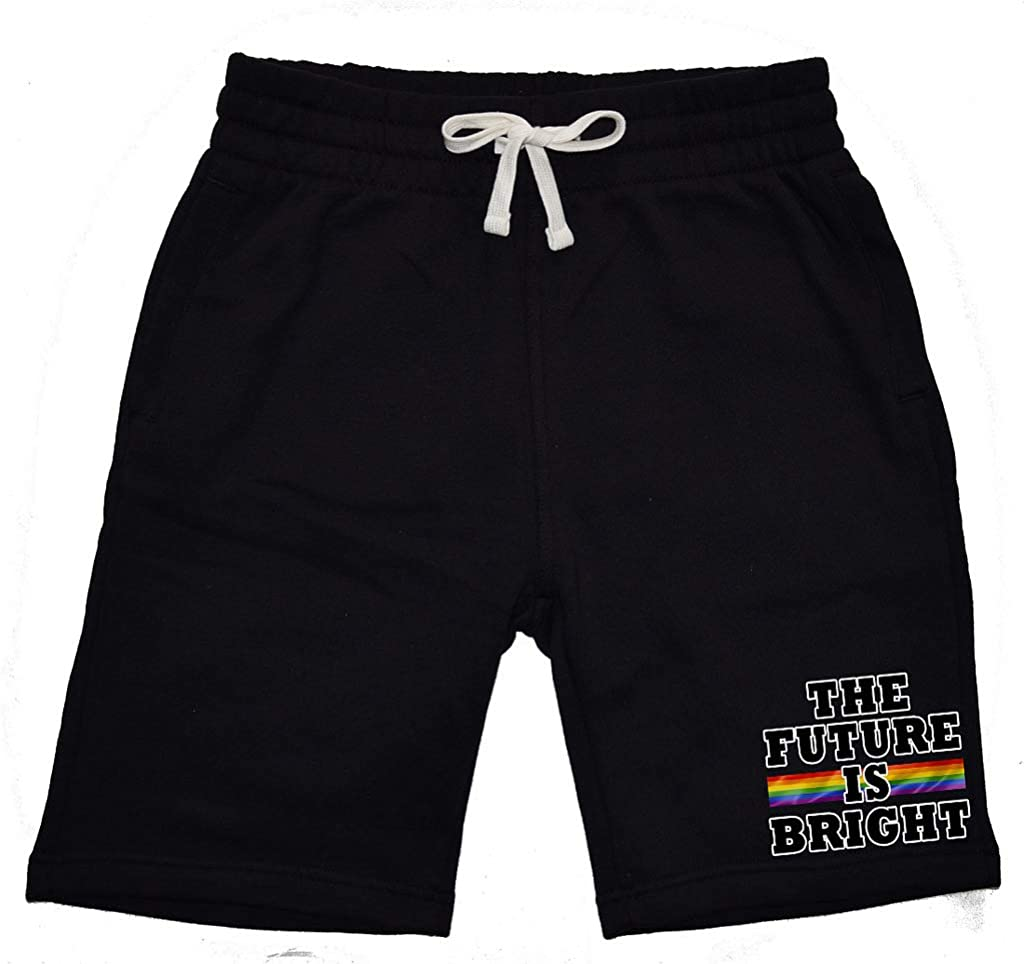 Mens The Future is Bright KT T15 Black Fleece Jogger Sweatpant Gym Shorts Large Black