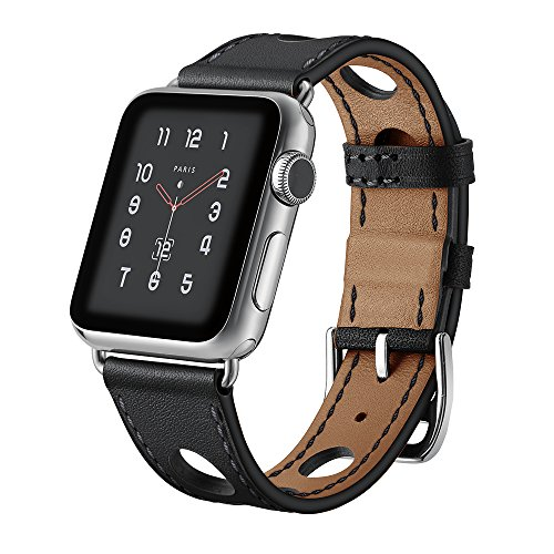 Boonix Boonix Compatible Apple WatchBand, iWatch Series 4 3 2 1 Bands Leather Loop w/Metal Clasp Apple Watch All Models, Sweat-Resistant Pre-Assembled Easy Replacement (Black 44mm/42mm) price tips cheap