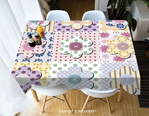 AngelDOU Fashion Durable Polyester Printed Tablecloth Arts and Crafts Theme Handiwork Quilting Stitches Daisy Motifs Sew Image Print Decorative for Kitchen Dining Room Outdoor cam,W55xL70(inch)