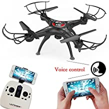 MOONBROOK Quadcopter FPV Drone Model aircraft with HD Camera 2.4Ghz 4CH 6-Axis Gyro WIFI APP Romote Control Headless Mode 3D Flip Fly Helicopter Airplane Toy Altitude Hold and Gravity Sensor Quadcopter Drone (Black)