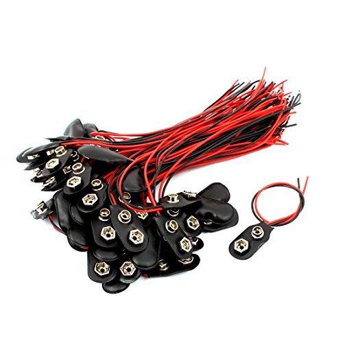 DealMux 60 piezas de 15 cm longitud del cable Clips Negro pl/ástico de la bater/ía de 9V conectores de tipo T Buckles