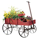 Amish Wagon Decorative Indoor Outdoor Garden Backyard Planter, Red
