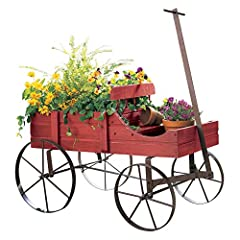 Amish Wagon Decorative Indoor / Outdoor Garden Backyard Planter       DescriptionShowcase flowers & plants and create sensational seasonal displays with our Amish Country Wagon. Crafted from wood with rolling iron wheels. Measures ...