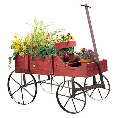 Wooden Christmas Yard Art - Amish Wagon Decorative Indoor/Outdoor Garden Backyard Planter, Red