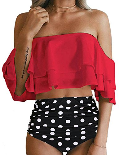 Tempt Me Women Two Piece Swimsuit Off Shoulder Ruffled Flounce Crop Top Bikini with Cutout Bottom Set Red XS ()