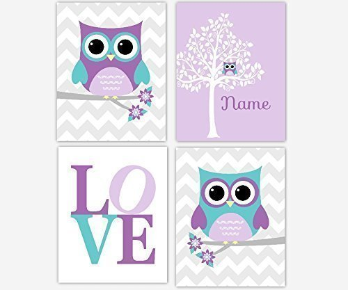 Baby Girl Nursery Wall Art Owl Purple Teal Lavender Owls Silhouette Tree LOVE Baby Nursery Decor SET OF 4 UNFRAMED PRINTS -