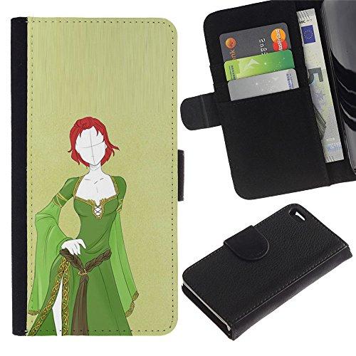 LASTONE PHONE CASE / Luxe Cuir Portefeuille Housse Fente pour Carte Coque Flip Étui de Protection pour Apple Iphone 4 / 4S / green medieval dress redhead girl spooky