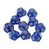 10Pcs Dungeons D&D Role Playing Bar Party Games D12(1-12) Dice Blue