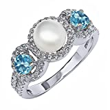 1.46 Ct Round Cultured Freshwater Pearl Swiss Blue Topaz Sterling Silver Ring (Available in size 5, 6, 7, 8, 9)
