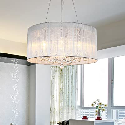 LightInTheBox? Modern Crystal Pendant Light in Cylinder Shade, Drum Style Home Ceiling Light Fixture Flush Mount, Pendant Light Chandeliers Lighting for Bedroom, Living Room