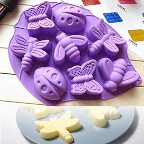 Ice Pastry (Butterfly Insects Ice Cube Trays Silicone Non Toxic DIY Pastry Baking Mold Non Stick Chocolate Cake Mold Handmade Soap Mould - 2 Pack)