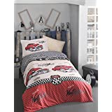 Bekata Classic Vintage Car, 100% Cotton Kids Cars Bedding Quilt/Duvet Cover Set, Boy's Bedding Linens, Single/Twin Size, COMFORTER INCLUDED (4 PCS, Red)