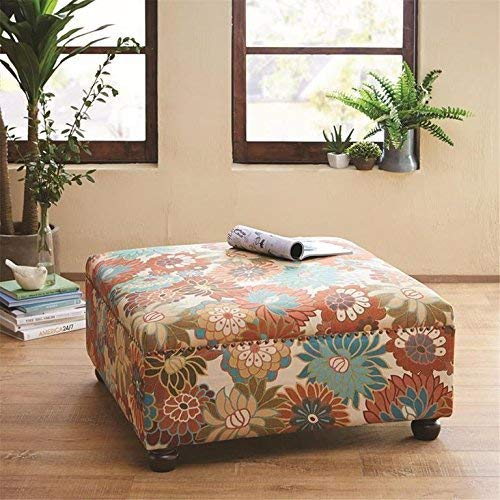 - Madison Park Carlyle Coffee Table - Solid Wood Square Large Accent Cocktail Ottoman Modern Style Vibrant Floral Spring Design, Padded Footstool, Extra Seating Corner Chair, Multi Floral