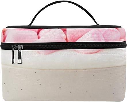 Gran Bolsa Aseo para Las Mujeres Hot Pink Candy y Crema Señora Gran tamaño Bolsa cosméticos Organizador Maquillaje Caja Almuerzo Titular Asas Estuche para Mujeres Bolso Viaje Cosmético: Amazon.es: Equipaje