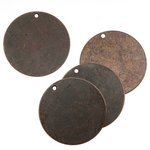Vintaj Natural Brass Rustic Altered Blank Circle Pendants 25mm (4) 39073