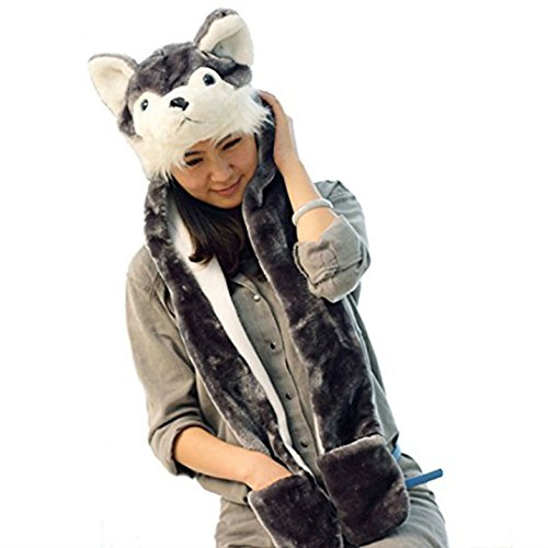 Costume Husky Timber Wolf Plush Animal Hat with Scarf Mittens (Husky Long)