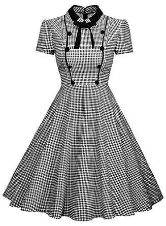 Missmay Women's Elegant Vintage 1940's Short Sleeve Plaid Swing Dress