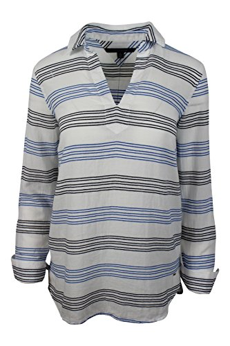 Tommy Hilfiger Women's White Blue Striped Pullover Cotton Collar Blouse, S (Cotton Gathered Blouse)