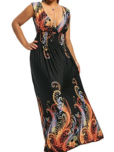 Smocked V-neck Dress - ZAFUL Women Plus Size Floral Print Cold Shoulder Maxi Dress Smocked Waist Bohemian Long Dress,Black 7XL