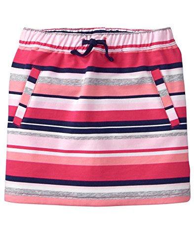 Gymboree Little Girls' Drawstring Front Pocket Knit Skirt, Pink/Grey Stripe, S by Gymboree