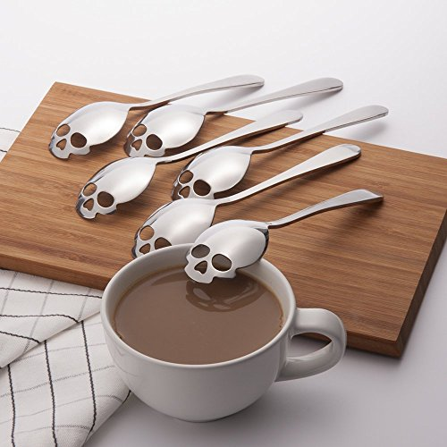 Drinkware & Tea Sets - Kcasa Kc-Fs05 Skull Shape Stainless Steel Tea Coffee Sugar Stirring Spoon Scoop Teaspoon Tableware - Rose Gold Serving Utensils Skull Shaped Drink Stir - Sugar (Skull Shapes)