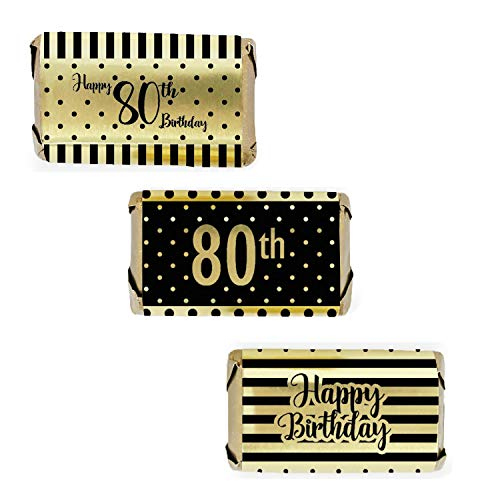 Black and Gold 80th Birthday Mini Candy Bar Wrappers | Shiny Foil | 54 Count
