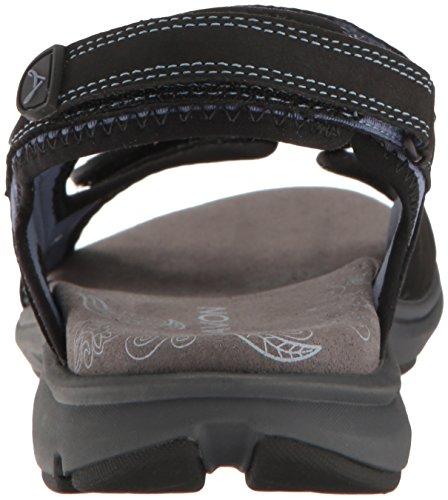 Aravon Womens Revsandal Three Strap Flat Sandal Black