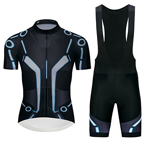 Lo.gas New Tron Cycling Jersey and Bibs Set Breathable Quick Dry Bike Shirt Short Sleeves ()